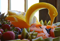 Fruit swan at the Essex Inn in Essex, NY