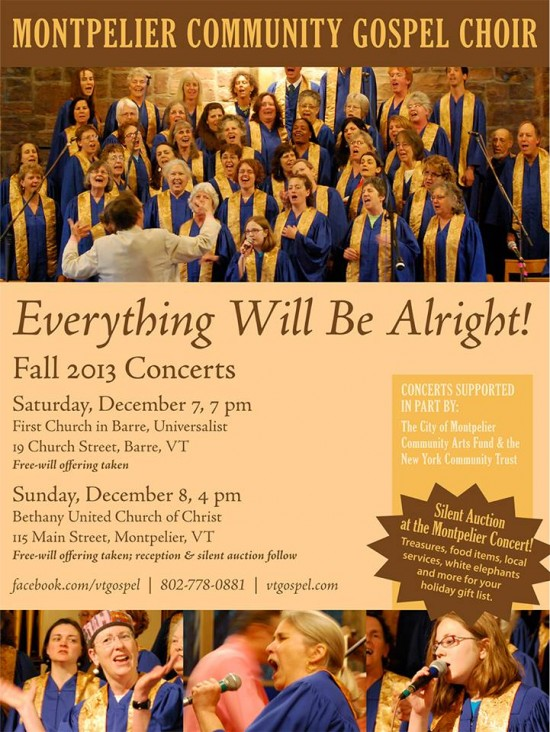 Montpelier Community Gospel Choir Concerts Dec. 7 & 8