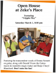 Open House at Zeke's Place Tonight