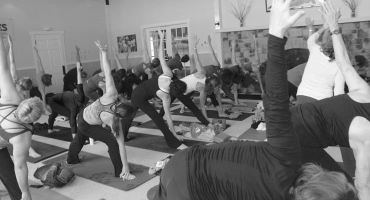 Up North Yoga Conference group practicing yoga together