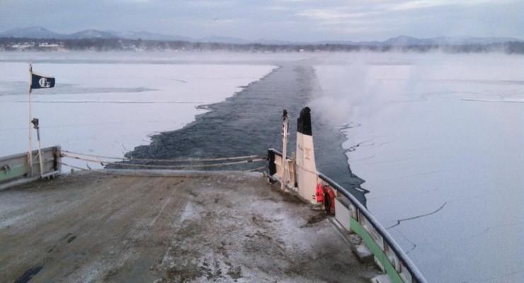 Ferry Breaking Ice on Lake Champlain [Credit: Ken Hughes]
