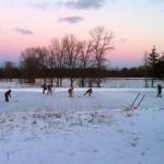 Playing hockey on Essex Farm pond (Credit: Kristin Kimball)