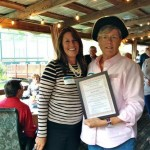 Volunteer Bonnie Sheeley receiving an award at the Annual Volunteer Reception, standing beside Fort Ticonderoga's President and CEO, Beth Hill. (Credit: Fort Ticonderoga)
