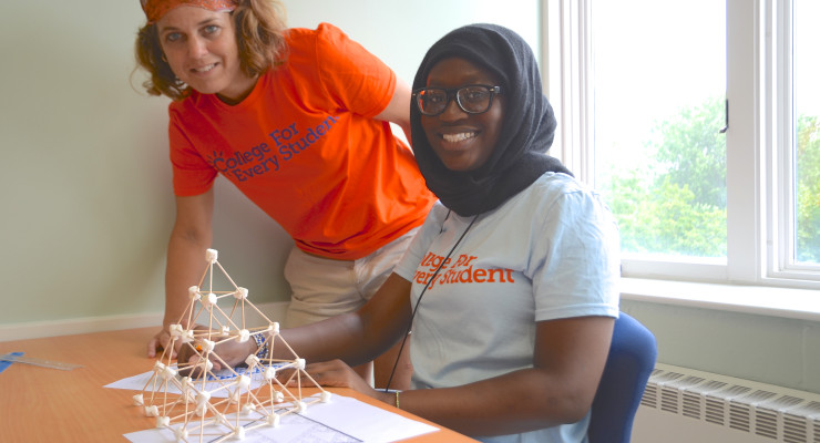 Laura Eldred mentors a CFES Scholar during this past summer's College Explore trip at Saint Michael's College in Colchester, VT (Credit: CFES)