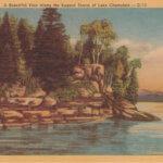 Vintage Postcard: Rugged Shore of Lake Champlain