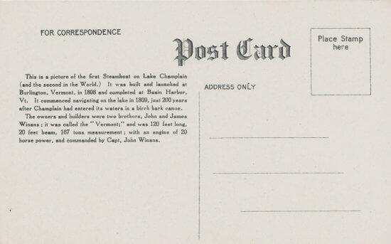 Vintage Postcard: Steamboat - back