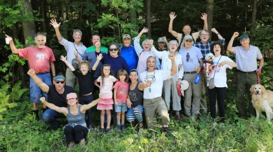Hikers were in a celebratory mood at the Grand Opening of CATS Hemlock Hill Trail in Westport. (Photo credit: Margie Reuther.)